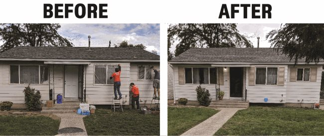 before and after photos of a house being painted